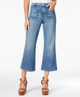 GUESS Lena Cropped Milk Blue Wash Flared Jeans