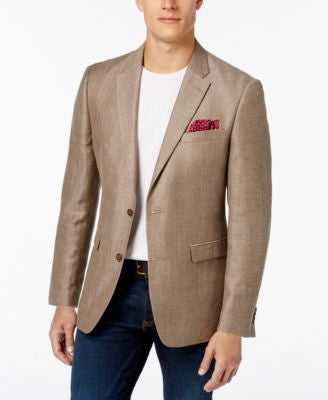 Tommy Hilfiger Men's Classic-Fit Dark Khaki Herringbone Sport Coat