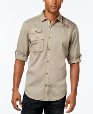 INC International Concepts Men's Polonius Camo and Solid Long-Sleeve Shirt, Only at Vogily