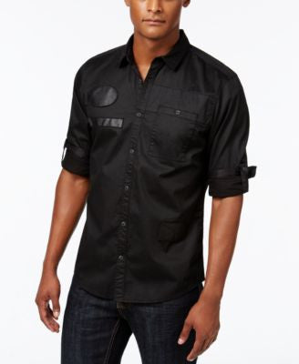 INC International Concepts Men's Faux Leather Trim Long-Sleeve Shirt, Only at Vogily