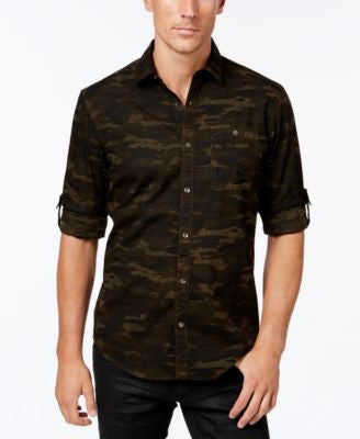 INC International Concepts Men's Duncan Poplin Camo Long-Sleeve Shirt, Only at Vogily