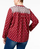 Style & Co. Plus Size Printed Split-Neck Shirt, Only at Vogily