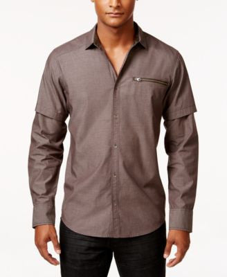 INC International Concepts Men's Layered-Sleeve Zip-Pocket Shirt, Only at Vogily