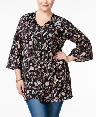 Style & Co. Plus Size Floral-Print Peasant Top, Only at Vogily