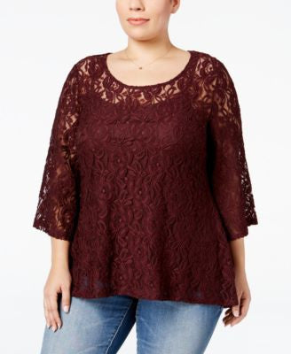 Style & Co. Plus Size Lace High-Low Swing Top, Only at Vogily