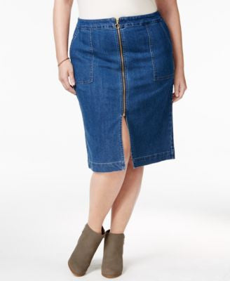 Style & Co. Plus Size Zip-Front Lake Wash Denim Skirt, Only at Vogily