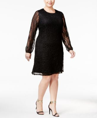 Style & Co. Plus Size Lace Peasant Dress, Only at Vogily