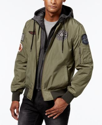 American Rag Men's Hooded Bomber Jacket, Only at Vogily
