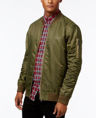 Jaywalker Men's Ruched Nylon Olive Bomber Jacket