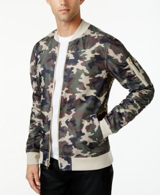 Jaywalker Men's Ruched Nylon Camo Bomber Jacket