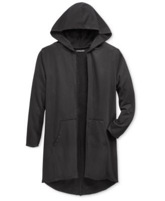 Jaywalker Men's Raw-Edge Long Length Cardigan Hoodie