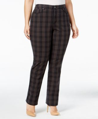 Charter Club Plus Size Lexington Tummy-Control Plaid Pants, Only at Vogily