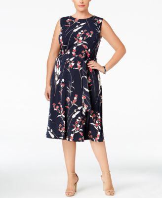Charter Club Plus Size Floral-Print Fit & Flare Dress, Only at Vogily