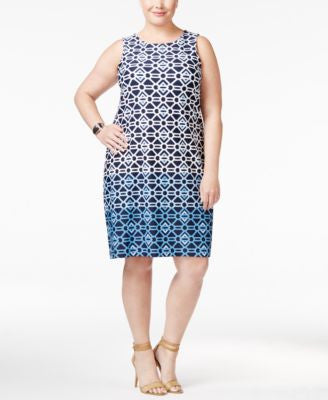 Charter Club Plus Size Geo-Print Shift Dress, Only at Vogily