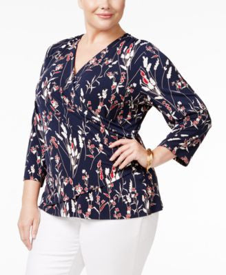 Charter Club Plus Size Floral-Print Faux-Wrap Top, Only at Vogily