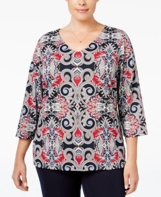 Charter Club Plus Size Paisley-Print Top, Only at Vogily