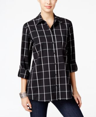 Style & Co. Plaid Roll-Tab Shirt, Only at Vogily