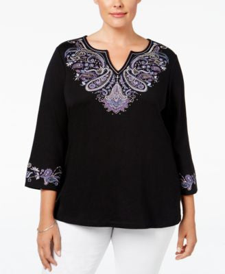 Karen Scott Plus Size Embroidered Top, Only at Vogily