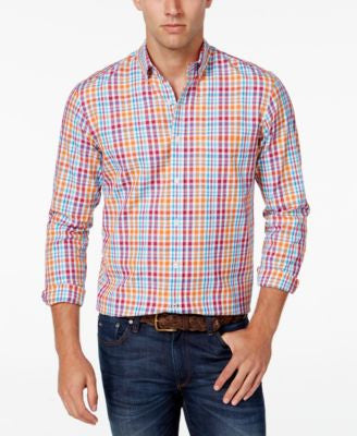 Club Room Men's Big and Tall Multi-Check Long-Sleeve Shirt