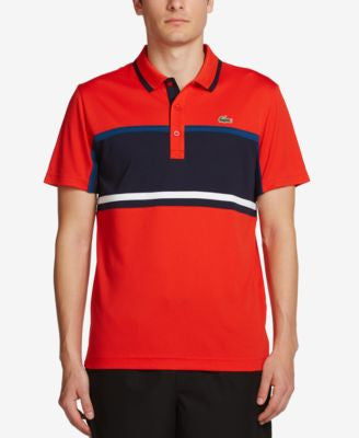 Lacoste Men's Colorblocked Striped Ultra Dry Pique Polo