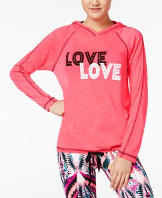 Material Girl Active Cutout-Back Graphic Hoodie, Only at Vogily