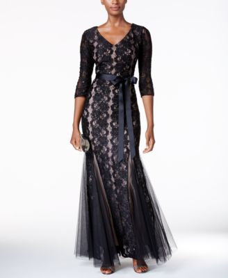 Alex Evenings Sequined Lace Mermaid Sash Gown