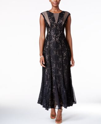 R & M Richards Sequined Lace Pleated Gown
