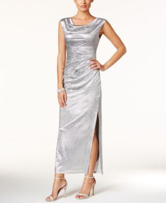 Connected Metallic Draped Slit Gown