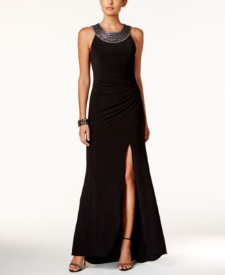 Vince Camuto Embellished Cleopatra-Neck Draped Gown