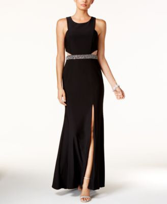 Xscape Petite Illusion Cutout Embellished Halter Gown