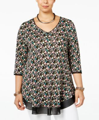 American Rag Trendy Plus Size Printed V-Neck Top, Only at Vogily