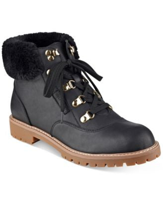Tommy Hilfiger Tucker Lace-Up Faux-Fur Ankle Booties