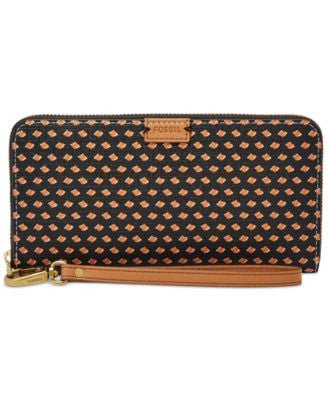 Fossil Emma Printed RFID Large Zip Clutch Wallet