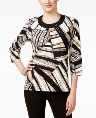 Alfred Dunner Petite Madison Park Printed Patchwork Top