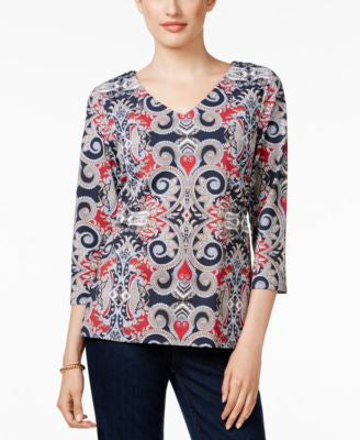 Charter Club Petite Printed V-Neck Top, Only at Vogily