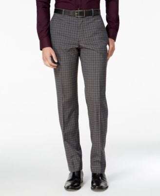 Bar III Men's Slim-Fit Charcoal Check Dress Pants, Only at Vogily