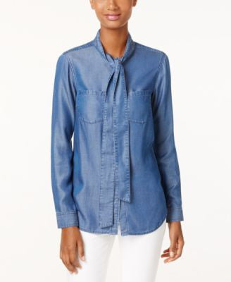MICHAEL Michael Kors Denim Tie-Neck Blouse