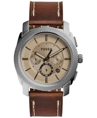 Fossil Men's Chronograph Machine Brown Leather Strap Watch 45mm FS5215