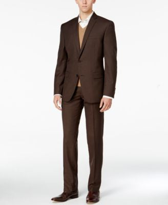 Bar III Men's Slim-Fit Brown Mini-Check Suit Separates, Only at Vogily