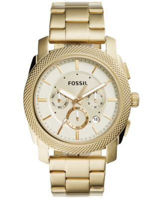 Fossil Men's Chronograph Machine Gold-Tone Stainless Steel Bracelet Watch 45mm FS5193