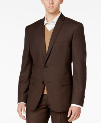Bar III Men's Slim-Fit Brown Mini-Check Jacket, Only at Vogily