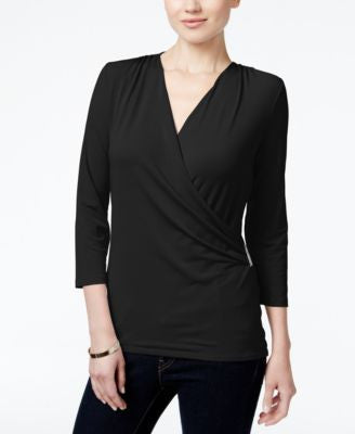 Charter Club Petite Crossover Wrap Top, Only at Vogily