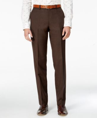 Bar III Men's Slim-Fit Brown Mini-Check Dress Pants, Only at Vogily