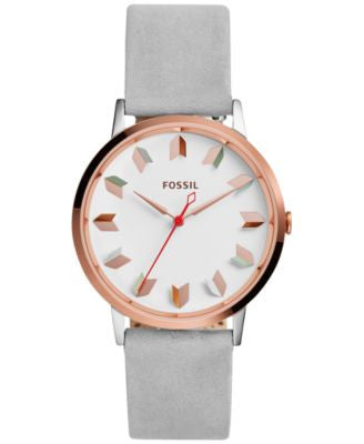 Fossil Women's Vintage Muse Gray Leather Strap Watch 40mm ES4057