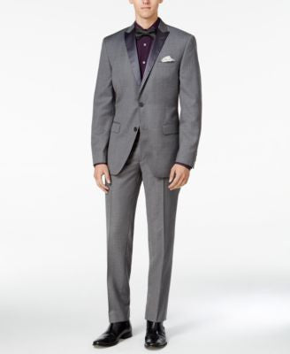 Bar III Men's Slim-Fit Medium-Gray Textured Tuxedo Separates, Only at Vogily