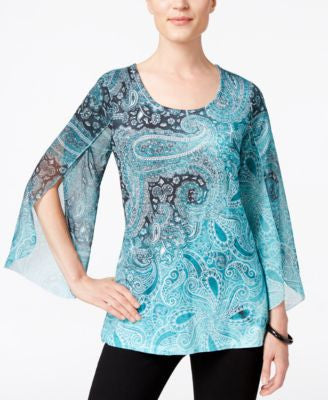 JM Collection Printed Split-Sleeve Top, Only at Vogily
