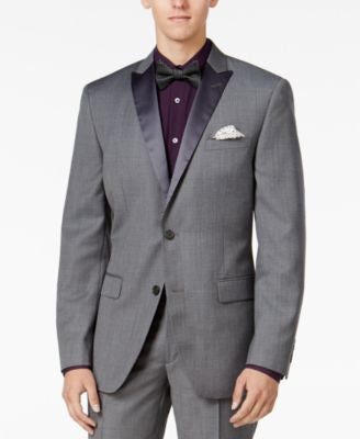 Bar III Men's Slim-Fit Medium Gray Textured Tuxedo Jacket, Only at Vogily