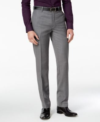 Bar III Men's Slim-Fit Medium Gray Textured Tuxedo Pants, Only at Vogily