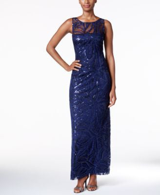 Tahari ASL Embroidered Sequined Illusion Gown