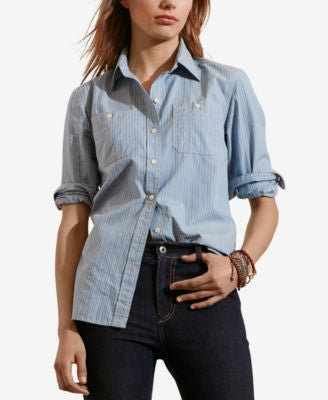 Lauren Ralph Lauren Striped Dobby Long-Sleeve Shirt
